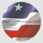 Thank you for your sacrifice! classic round sticker
