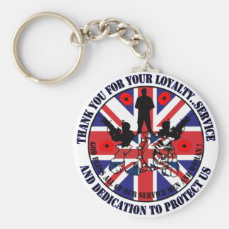Thank you for your service UK Soldiers Basic Round Button Keychain