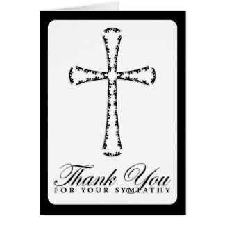 thank you for your sympathy (elegant cross) note card