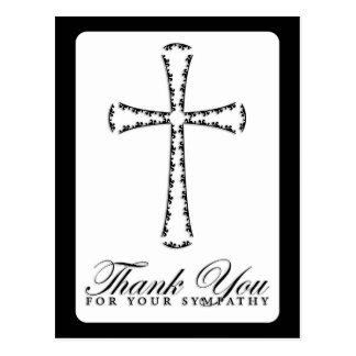 thank you for your sympathy (elegant cross) postcard