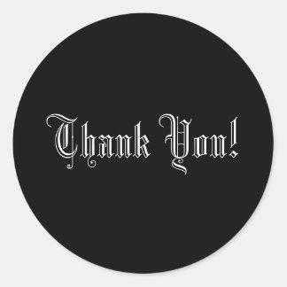 Thank You! Formal Wedding Text Envelope Seal Round Sticker