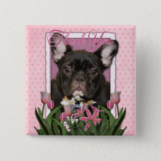 Thank You - French  Bulldog - Teal 2 Inch Square Button