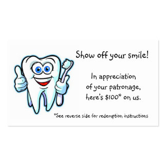 thank you from dentist pack of standard business cards