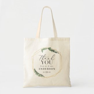Thank you from mr & mrs gold geometric favour tote bag