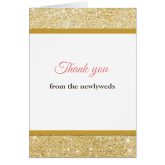 Thank you from the newlyweds card pink gold