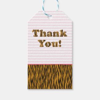 Thank You | Fun Pink Stripes & Tigerprint Gift Tags