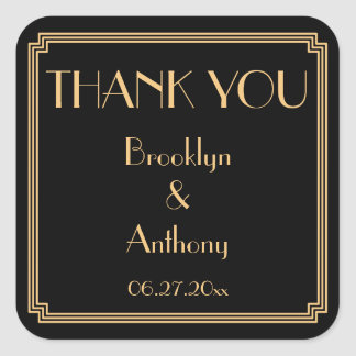Thank You Gatsby Art Deco Black Wedding Stickers