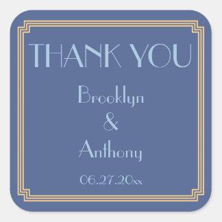 Thank You Gatsby Art Deco Blue Wedding Stickers