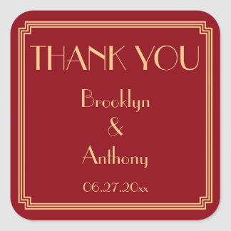 Thank You Gatsby Art Deco Red Wedding Stickers