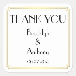 Thank You Gatsby Art Deco White Wedding Stickers