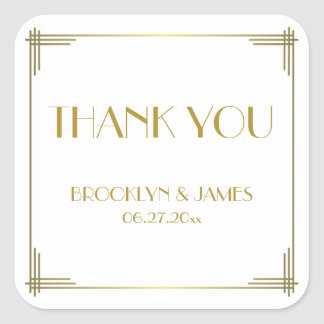 Thank You Gatsby Gold Art Deco Wedding Stickers