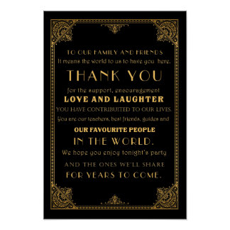 Thank you  Gatsby inspired wedding sign card Posters