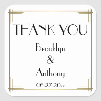 Thank You Gatsby White Art Deco Wedding Stickers