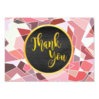 Thank You Geometri Pink Glitter Wedding Glow Card