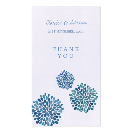 Thank You Gift Favor Tags Blue Flower Blooms Business Card Template