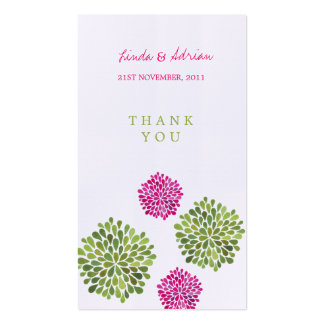 Thank You Gift Favor Tags Pink & Green Blooms Business Cards