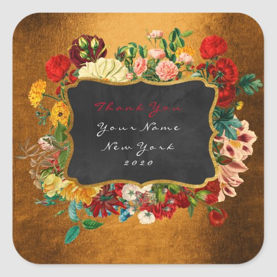 Thank You Gift Label Gold Home Made Floral