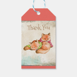 THANK YOU GIFT TAG - ADORABLE FOXES - CUTE ANIMALS