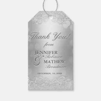 Thank You Gift Tag Silver Bokeh