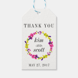 THANK YOU Gift Tags Wedding Favors Floral Wreath Pack Of Gift Tags