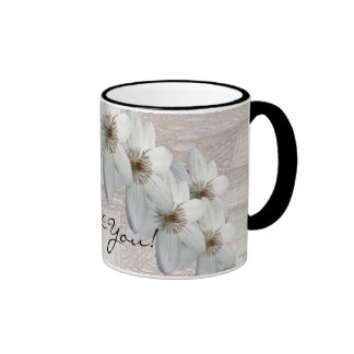 Thank You Gift - White Flowers and Lace Mug
