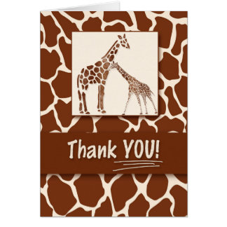 Thank You Giraffe Print Safari Theme Card