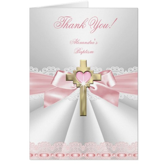Thank You girl Baptism Pretty Baptism Christening, Card