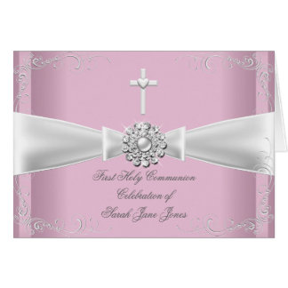 Thank You Girl First Holy Communion pink White Note Card