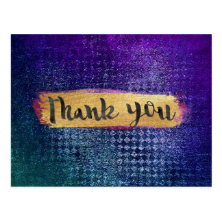 Thank You Glam Blue Grungy Green Modern Postcard