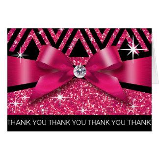 Thank you Glitter Chevron Bling Diamond fuchsia Card