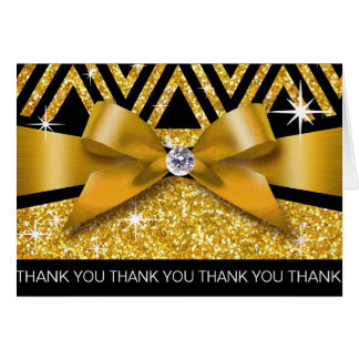 Thank you Glitter Chevron Bling Diamond gold Card