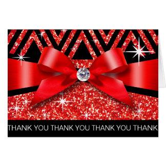Thank you Glitter Chevron Bling Diamond red Card