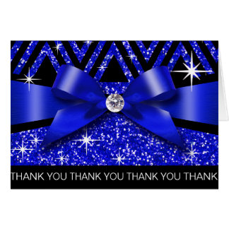 Thank you Glitter Chevron Bling Diamond sapphire Card