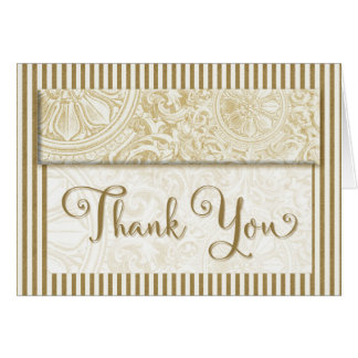 Thank You - Gold and Cream Vintage Prints Greeting Card
