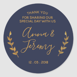 Thank you Gold and Navy Blue Feather Sticker