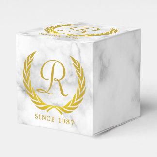 Thank You Gold Classic Monogram Laurel Leaf Marble Favor Box