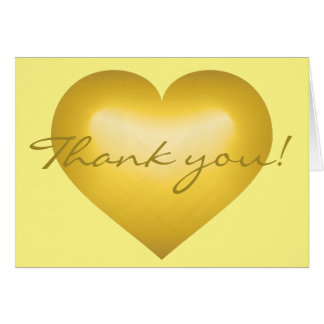 Thank you! Gold Fade Heart - blank inside Note Card