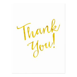 Thank You Gold Faux Foil Motivational Metallic Postcard