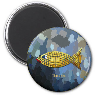 """Thank You"" Gold Fish Tile Design Magnet"