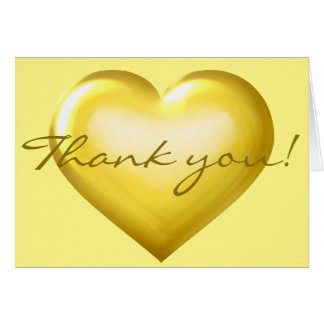 Thank You! Gold Glass Heart - blank inside Note Card