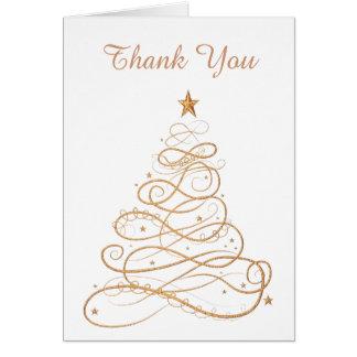 """Thank you"" Gold Metallic Filigree Christmas Tree Card"