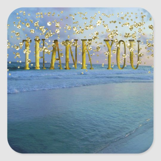 Thank You Gold Seascape Square Sticker