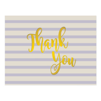 Thank You Gold Striped Glitter Clean Postcard