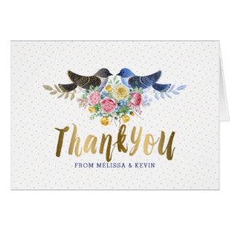Thank You Gold Text & Floral Bouquet & Live Birds Card