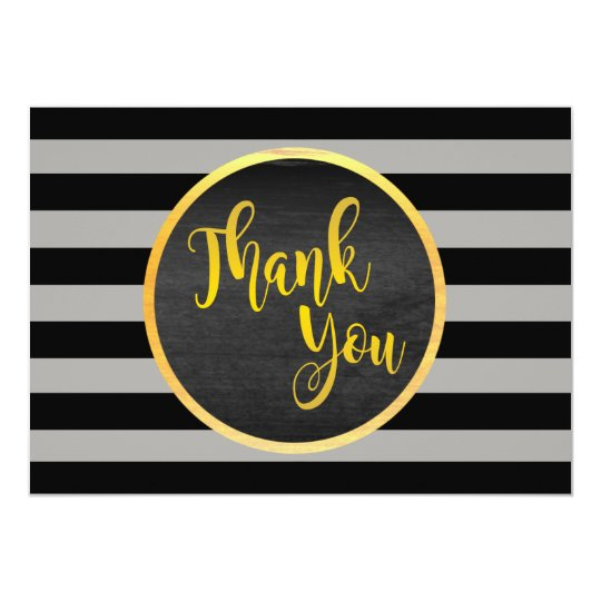 Thank You Gold Wedding Black Striped Card