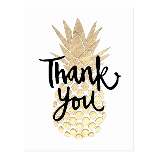 thank you golden pineapple graphic postcard