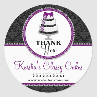 Thank You Gourmet Cake Bakery Box Seals Round Sticker