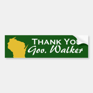 Thank You Governor Scott Walker of Wisconsin Bumper Sticker