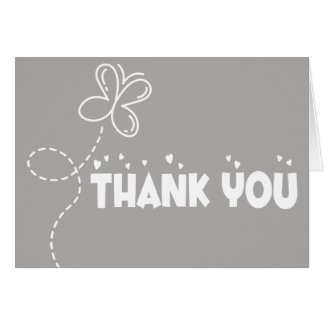 Thank You Gray & White Butterfly & Hearts Wedding Card