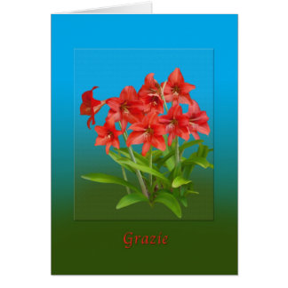Thank You, Grazie, Italian Card